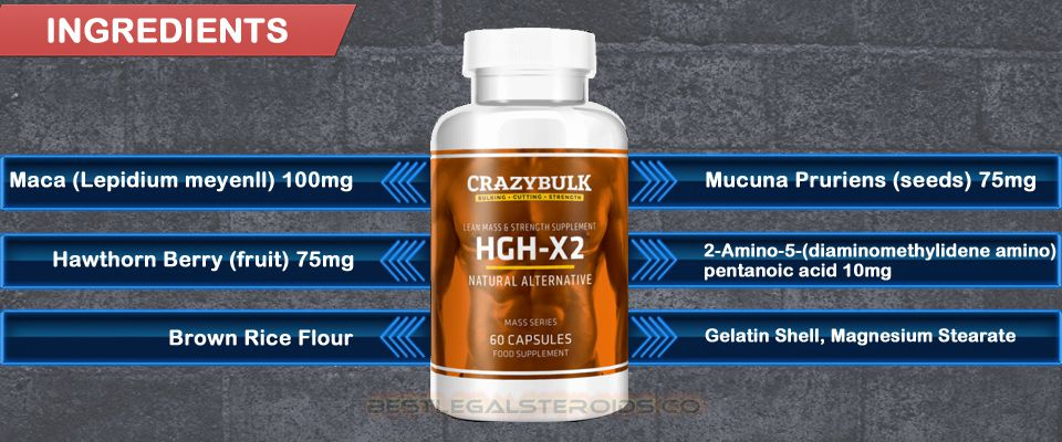 Legal Steroids Supplements Hgh X2 Ingredients; Maca (Lepidium meyeni i), Mucuna pruriens, Hawthorn berry fruit (Crataegus oxyacantha), 2-Amino-5-Diaminomethylidene pentanoic acid