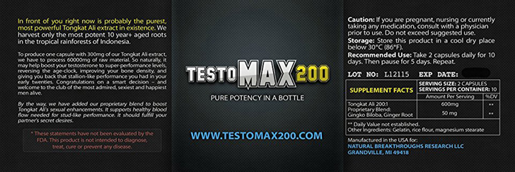 testomax200 ingredients